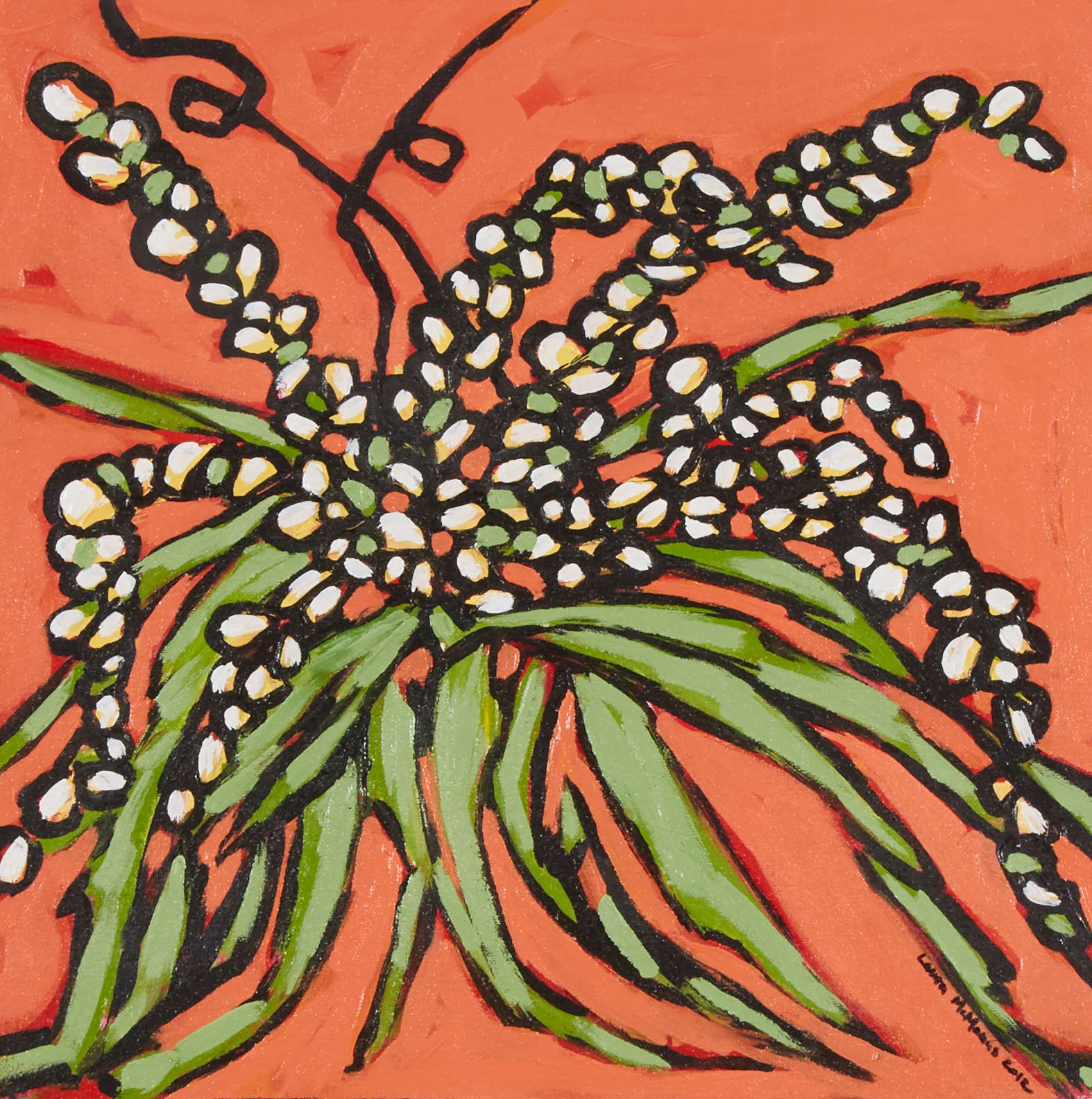 White Flowers On Orange The Camptons Art And Design Studio And Gallery